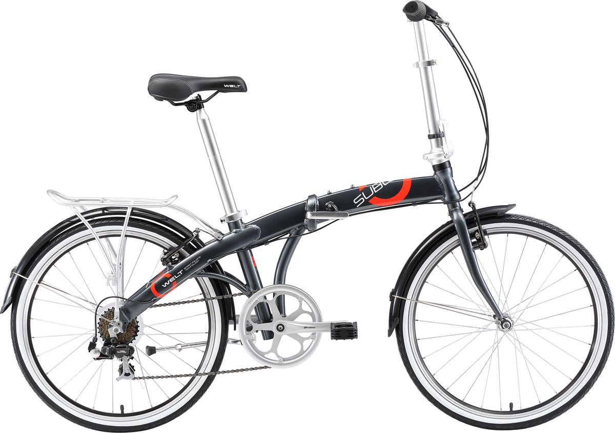 Велосипед складной Welt 2018 Subway, цвет: серый, колесо 249333725308405Совсем недавно раскладной велосипед отличался солидными габаритами и весом. Но благодаря инновационным технологиям появились облегченные складные агрегаты, использование которых стало комфортным и удобным. Одним из таких представителей класса складных двухколесников и является Subway 24. Легкая, компактнаяалюминиевая модель легко поместится в багажнике,на балконе или в малогабаритной квартире. Subway оснащен магнитной защелкой, которая фиксирует раму в сложенном состоянии, а также складными педалями. Имеет очень компактный вид в сложенном состоянии для перевозки и хранения в условиях города за счет также складываемого телескопического руля. Данная модель в сложенном виде разрешена к перевозке в метро и общественном транспорте. Особенностии технологии: - технология #CITYCOMFORTSERIES# - багажник, подножка и полноразмерные крылья идут в комплекте. -доступность запчастей и комплектующих; Технические характеристики: Рама: Alloy 6061 folding Размер рамы: one size Диаметр колес: 24 Кол-во скоростей: 7 Тип вилки: жесткая Вилка: Rigid steel Переключатель передний: нет Переключатель задний: Shimano FT-30 Шифтеры: Shimano RS-35 R 7spd Тип тормозов:V-brake Тормоза:Artek 216DG Система: Prowheel Solid 48T Кассета: Shimano TZ21 14-28T Тип рулевой колонки:1-1/8 резьбовая Покрышки: Wanda P1159