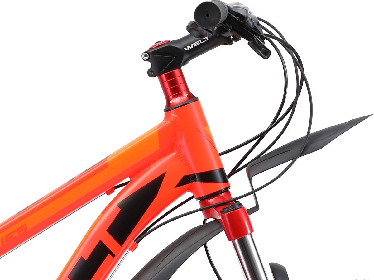 """Как не ошибиться с выбором, если рост 135 см? Оцените велосипед Welt PEAK 24""""D по достоинству! Построенный на базе младшей модели, но с установленными дисковыми тормозами. А диски это не только круто, но и безопасней обычного тормоза, особенно если кататься плохую погоду или не благоприятных условиях. Торможение и модуляция на высоте, при этом конструкция тормоза достаточно простая и не требует постоянного обслуживания. В остальном это все тот же Welt PEAK 24. Большинство компонентов, включая раму, изготовлены из легкого и прочного алюминия, что приятно скажется на ездовых характеристиках, а поднять домой байк сможет даже подросток. Доступная цена, отменное качество комплектующих и медленный износ делают этот велосипед одним из лучших в линейке юношеских моделей Welt. Данная модель будет отличным выбором перед переходом в мир взрослых велосипедов. Особенности и технологии: - технология #SPECIAL_TEEN_SERIE# - это настоящий горный велосипед с колесами меньшего диаметра 24 дюйма на двойных ободах. - облегченная алюминиевая рама из труб сложного профиля надежна, технологична и безопасна. - амортизационная вилка, 21 скоростная трансмиссия Shimano Tourney даст почувствовать себя настоящим райдером. - подножка и крылья станут приятным дополнение в копилку потребительских свойств этой модели. Технические характеристики: Рама: Alloy 6061 Размер рамы: one size Диаметр колес: 24 Кол-во скоростей: 21 Тип вилки: амортизационная Вилка: Hagen ES-443 Alloy 100mm Пер. переключатель:Shimano TZ-30 Зад. переключатель: Shimano TY-21 Шифтеры: Shimano EF-500 3x7 Тип тормозов: V-brake Тормоза: Power 132S Система: 42/34/24 T 152mm Кассета: FW-217B 14-28T Тип рулевой колонки:semi-integrated 1-1/8*44 Покрышки: Wanda P1197 24x1,95"""