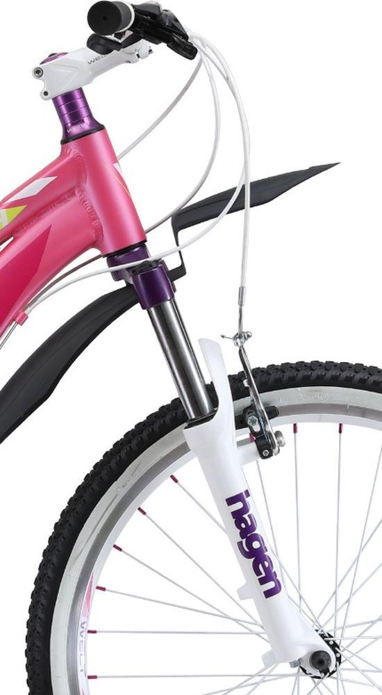 Welt Edelweiss 24 обязательно понравится активным и спортивным подросткам, которые все свободное время проводят на открытом воздухе.Подростковый велосипед со взрослым оборудованием станет настоящим другом для девочек, которые любят активные виды спорта. Несмотря на относительно невысокую цену, модель обладает высококачественным навесным оборудованием и надежными компонентами. Крылья не дадут одежде промокнуть при передвижении по мокрым дорогам. Рама изготовлена из алюминиевого сплава, что придало модели малый вес без потери в прочности. Амортизационная вилка способна обработать все неровности дороги и не даст вашим рукам забиться и устать. Особенности и технологии: - амортизационная вилка и 7 скоростная трансмиссия #Shimano# добавят комфорта катанию; - обновленная рама, имеющая плавную линию верхней трубы для комфортной посадки; - двойные обода; - подножка и крылья в комплекте. - технология #DIAMOND_SHAPE_GEOMETRY# Технические характеристики: Рама: Alloy 6061 Размер рамы: one size Диаметр колес: 24 Кол-во скоростей: 21 Тип вилки: амортизационная Вилка: Hagen ES-440 Alloy 100mm Переключатель задний : Shimano TY-21 Переключатель передний: Shimano TZ-30 Шифтеры: Shimano EF-500 3x7 Тип тормозов: #V_brake# Тормоза: Power 132S Система: 42/34/24 T 152mm Кассета: FW-217B 14-28T Тип рулевой колонки: semi-integrated 1-1/8*44 Покрышки: Wanda P1197 20x1,95