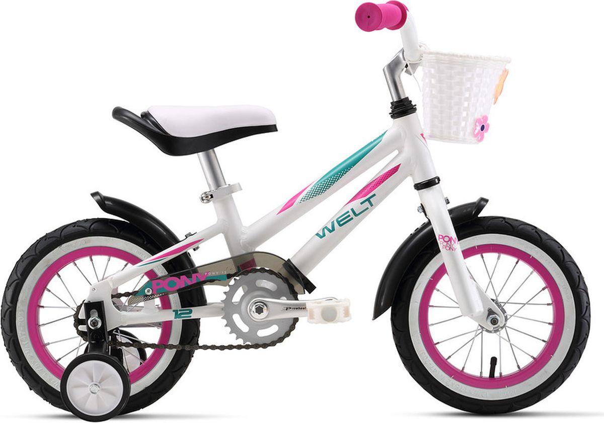 Велосипед детский Welt 2018 Pony, цвет: белый, филетовый, бирюзовый, колесо 12