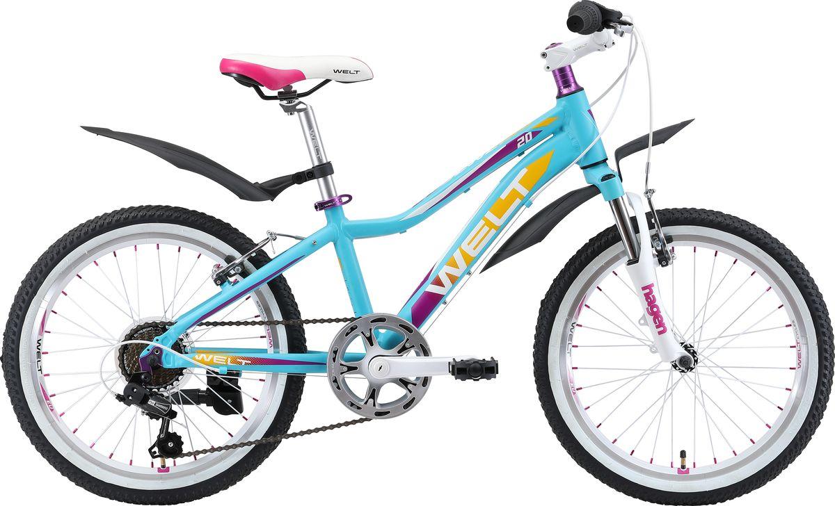 Велосипед детский Welt 2018 Edelweiss matt, цвет: голубой, фиолетовый, колесо 209333725308986Отличный выбор для девочек 6-8 лет.Маленькая хозяйка обязательно полюбит этот велосипед за яркий дизайн и удобную посадку.Алюминиевая рама с трубами сложного сечения обеспечивает высочайший уровень безопасности, что понравится родителям. Яркая расцветка и стильные дополнительные элементы в цвет дизайна никого не оставят равнодушными. Особенности и технологии: - технология #DIAMOND_SHAPE_GEOMETRY# - технология #SPECIAL_TEEN_SERIE# - амортизационная вилка и 7 скоростная трансмиссия #Shimano# добавят комфорта катанию; - обновленная рама, имеющая плавную линию верхней трубы для комфортной посадки; - двойные обода; - подножка и крылья в комплекте являются отличным дополнением к потребительским качествам этой модели. Технические характеристики: Рама: Alloy 6061 Размер рамы: one size Диаметр колес: 20 Кол-во скоростей: 7 Тип вилки: амортизационная Вилка: Hagen ES-440 Alloy 50mm Переключатель задний : Shimano TY-21 Переключатель передний: нет Шифтеры: Shimano RS-35 R 7spd Тип тормозов: #V_brake# Тормоза: Power 132S Система: 42/34/24 T 152mm Кассета: FW-217B 14-28T Тип рулевой колонки: semi-integrated 1-1/8*44 Покрышки: Wanda P1197 20x1,95