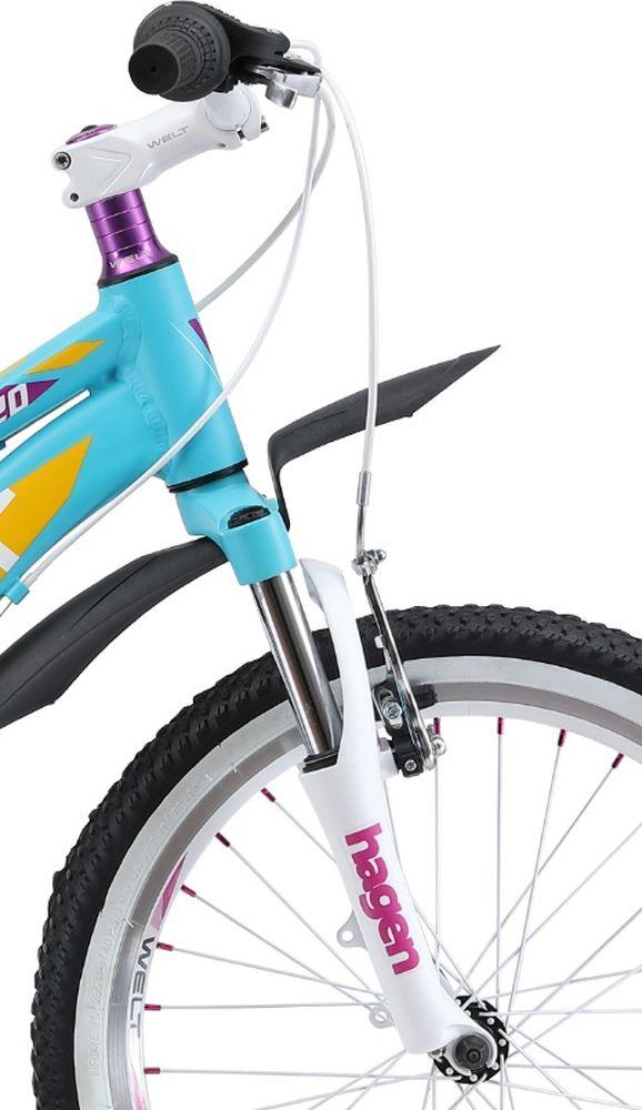 Отличный выбор для девочек 6-8 лет.Маленькая хозяйка обязательно полюбит этот велосипед за яркий дизайн и удобную посадку.Алюминиевая рама с трубами сложного сечения обеспечивает высочайший уровень безопасности, что понравится родителям. Яркая расцветка и стильные дополнительные элементы в цвет дизайна никого не оставят равнодушными. Особенности и технологии: - технология #DIAMOND_SHAPE_GEOMETRY# - технология #SPECIAL_TEEN_SERIE# - амортизационная вилка и 7 скоростная трансмиссия #Shimano# добавят комфорта катанию; - обновленная рама, имеющая плавную линию верхней трубы для комфортной посадки; - двойные обода; - подножка и крылья в комплекте являются отличным дополнением к потребительским качествам этой модели. Технические характеристики: Рама: Alloy 6061 Размер рамы: one size Диаметр колес: 20 Кол-во скоростей: 7 Тип вилки: амортизационная Вилка: Hagen ES-440 Alloy 50mm Переключатель задний : Shimano TY-21 Переключатель передний: нет Шифтеры: Shimano RS-35 R 7spd Тип тормозов: #V_brake# Тормоза: Power 132S Система: 42/34/24 T 152mm Кассета: FW-217B 14-28T Тип рулевой колонки: semi-integrated 1-1/8*44 Покрышки: Wanda P1197 20x1,95