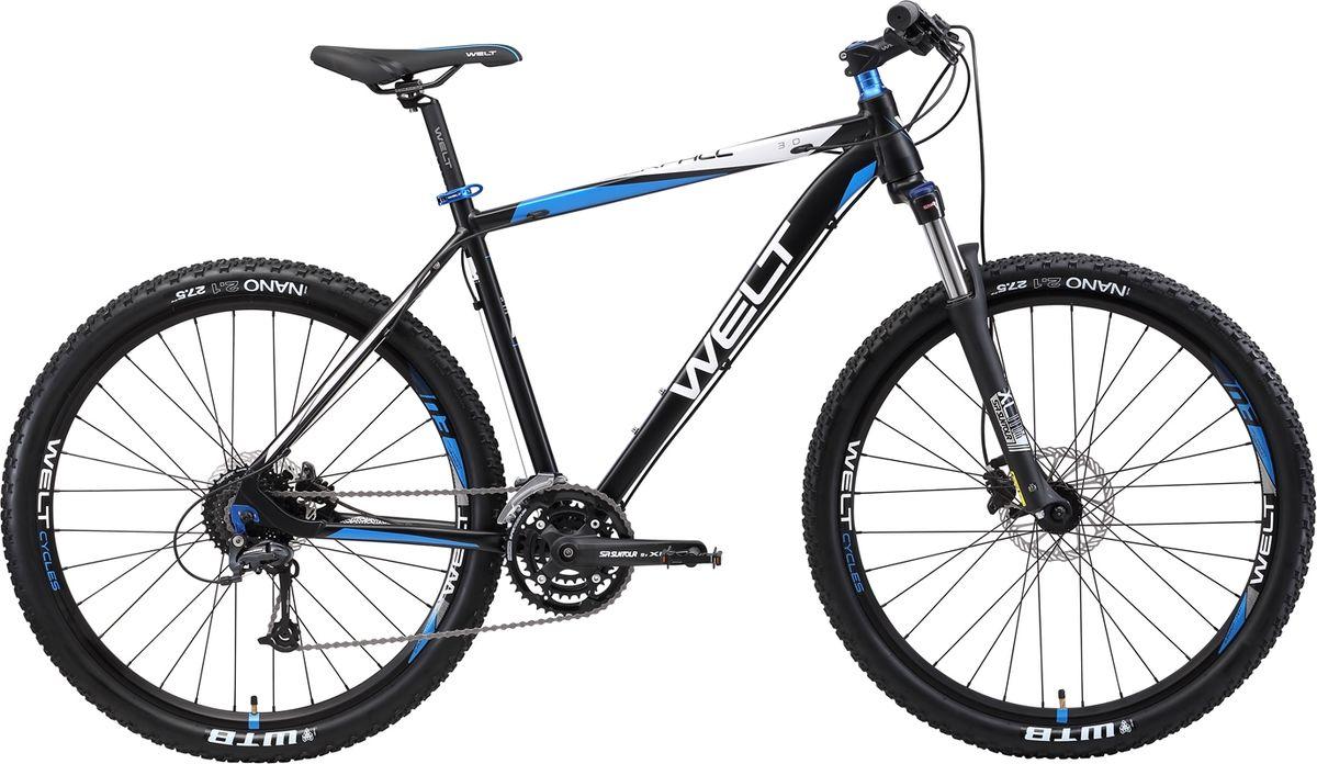 Велосипед горный Welt 2018 Rockfall 3.0 matt, цвет: черный, синий, рама M, колесо 279333725309365Высокоуровневый горный хардтейл Welt Rockfall 3.0 - это аппарат для амбициозных райдеров, который поможет полностью раскрыть свой потенциал велогонщика. Подойдет не только продвинутым любителям велоспорта, но и начинающим спортсменам.Благодаря алюминиевому сплаву, из которого была изготовлена рама, модель получилась не только легкой, но и прочной.В дизайне используются цветные компоненты из анодированного алюминия, что придает велосипеду солидный вид.  Особенности и технологии: - дисковые гидравлические тормоза #Shimano# M-396 не подведут вас даже в мокрую погоду. - амортизационная вилка Suntour XCM HLO 27,5 DS отвечает за комфортное преодоление сложных участков бездорожья. - трансмиссия от японской компании Shimano порадует высокой четкостью переключения и неприхотливостью обслуживания. - быстросъемная цепь, за счет специального замка - технология #INNERCABLEROUING# - технология #BUILTINDISCBRAKE# - технология #TAPERED_HEAD_TUBE# - технология #DOUBLE_BUTTED# - технология #27_PLUS# - технология #XC# Технические характеристики: Рама: Alloy 6061 tapered HT, polished welding Размер рамы, дюймы: S, M, L Диаметр колес: 27,5 Кол-во скоростей: 27 Тип вилки: амортизационная Вилка: Suntour XCT HLO 27,5 DS 100 mm Пер. переключатель: Shimano Altus Зад. Переключатель: Shimano Deore 9spd Шифтеры: Shimano Altus 3x9 spd Тип тормозов: дисковые гидравлические Тормоза: Shimano Acera M-396 Система: SR Suntour XCT 44/32/22T Кассета: Shimano HG200 11-34T Тип рулевой колонки:tapered semi-integrated 1- 1/8*44 Покрышки: WTB Nano 27,5 x 2,1