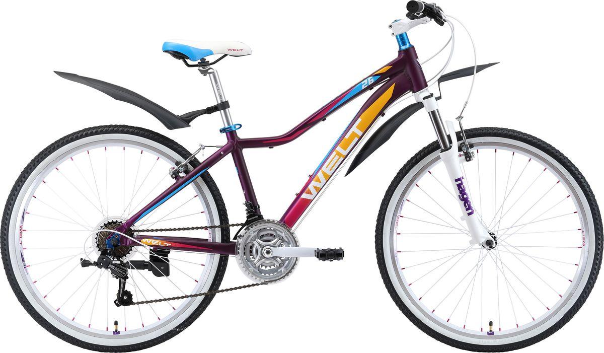 Велосипед детский Welt 2018 Edelweiss Teen matt, цвет: фиолетовый, голубой, колесо 269333725309471Welt Edelweiss 26 Teen обязательно понравится активным и спортивным подросткам, которые все свободное время проводят на открытом воздухе.Подростковый велосипед со взрослым оборудованием станет настоящим другом для молодежи, которая любит активные виды спорта. Несмотря на относительно невысокую цену, модель обладает высококачественным навесным оборудованием и надежными компонентами. Крылья не дадут одежде промокнуть при передвижении по мокрым дорогам. Рама изготовлена из алюминиевого сплава, что придало модели малый вес без потери в прочности. Амортизационная вилка способна обработать все неровности дороги и не даст вашим рукам забиться и устать. Особенности и технологии: - амортизационная вилка и 7 скоростная трансмиссия #Shimano# добавят комфорта катанию; - обновленная рама, имеющая плавную линию верхней трубы для комфортной посадки; - двойные обода; - подножка и крылья в комплекте. -технология #DIAMOND_SHAPE_GEOMETRY# Технические характеристики: Рама: Alloy 6061 Размер рамы: one size Диаметр колес: 26 Кол-во скоростей: 21 Тип вилки: амортизационная Вилка: Hagen ES-440 Alloy 100mm Переключатель задний : Shimano TY-21 Переключатель передний: Shimano TZ-30 Шифтеры: Shimano EF-500 3x7 Тип тормозов: #V_brake# Тормоза: Power 132S Система: 42/34/24 T 152mm Кассета: FW-217B 14-28T Тип рулевой колонки: semi-integrated 1-1/8*44 Покрышки: Wanda P1197 20x1,95
