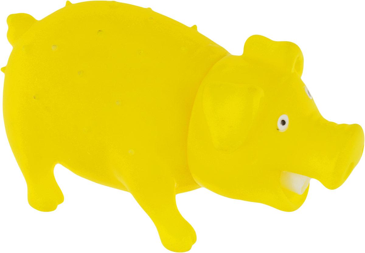 Игрушка для собак Уют Свинья, цвет: желтый, 16 x 7 см уют
