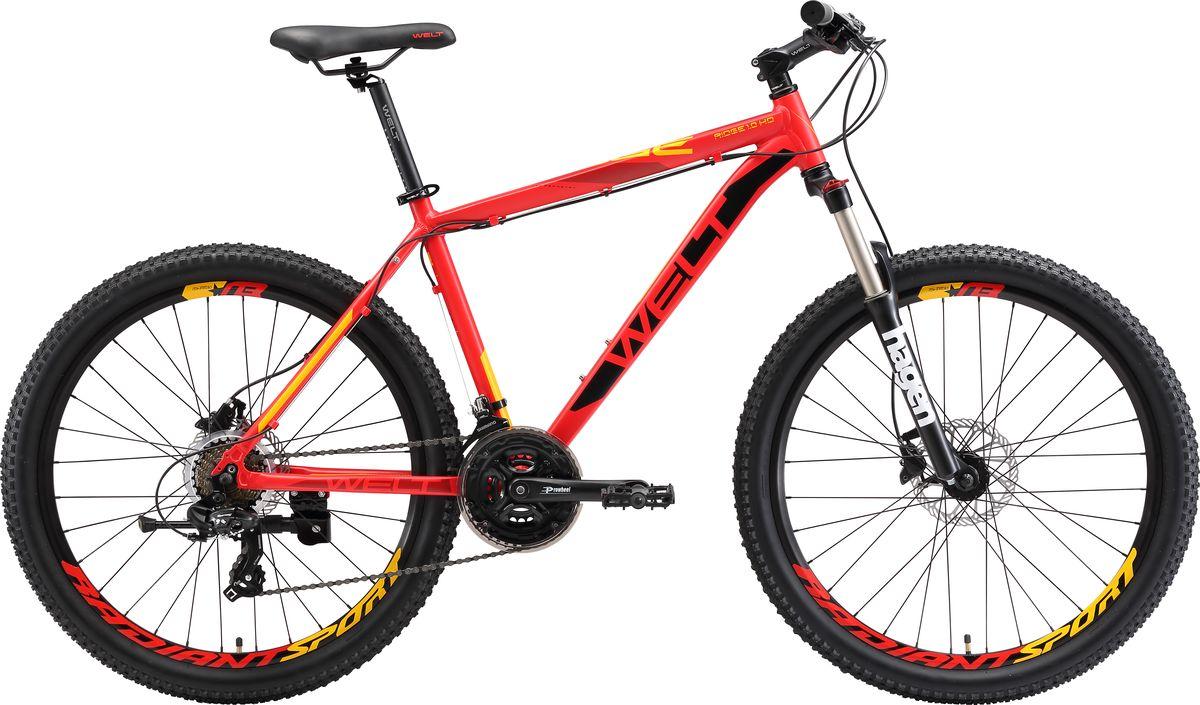 Велосипед горный Welt 2018 Ridge 1.0 HD matt, цвет: красный, желтый, рама M, колесо 269333725308306Сенсационная модель, ломающая стереотипы! Классическая универсальная модель начального уровня с дисковыми гидравлическими тормозами. С одной стороны, это классическая универсальная модель начального уровня с 21-й скоростной трансмиссией Shimano серии TX для рядовых пользователей, редко использующих велосипед ежедневно. C другой стороны, данная модель оснащена дисковыми механическими тормозами Shimano, которыми обычно комплектуются велосипеды спортивного уровня, в разы дороже, что делает ее на порядок безопаснее, качественнее и не имеющей аналогов на российском рынке при сравнении с конкурентами по цене. Вторым уникальным преимуществом является амортизационная вилка с ходом 100 мм, цельнолитой алюминиевой короной и функцией блокировки хода. Также необходимо отметить сложные сечения профилей труб и технологии обработки алюминиевого сплава рамы.Функционал передней подвески предлагает как регулировать преднагрузку, так и блокировать ход (например, когда выезжаете на асфальт).Сконструированные на двойных алюминиевых ободах 26-дюймовые колеса обуты в устойчивую к истиранию и проколам резину Особенности и технологии: - технология #DOUBLE_BUTTED# - технология #SHARPEDGETUBING# - технология #DIAMOND_SHAPE_GEOMETRY# - технология #МТВ_SPECIAL_SERIES# - технология #SMOOTH_WELDING_DESIGN# - дисковая гидравлика #Shimano#, делает модель в разы безопаснее и не имеет аналогов - модель оснащена подножкой в базе - покрышки повышенной проходимости 26х2.35 - новое анатомическое седло - цельнолитая конструкция вилки Hagen, механическая блокировка, ход 100 мм  Технические характеристики: Рама: Alloy 6061 Размер рамы: S,M,L Диаметр колес: 26 Кол-во скоростей: 21 Тип вилки: амортизационная Вилка: Hagen MRK 100mm MLO Переключатель задний : Shimano TY-300 Переключатель передний: Shimano TZ-30 Шифтеры: Shimano Altus 3x7 скоростей Тип тормозов: дисковые гидравлические Тормоза: Shimano M-315 Систем