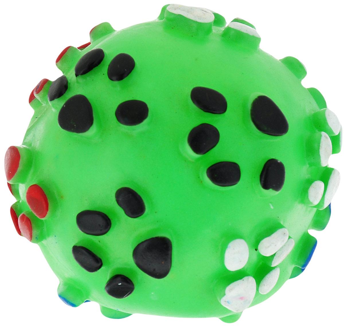 Игрушка для собак Уют Мяч лапки, цвет: зеленый, 8,5 см уют