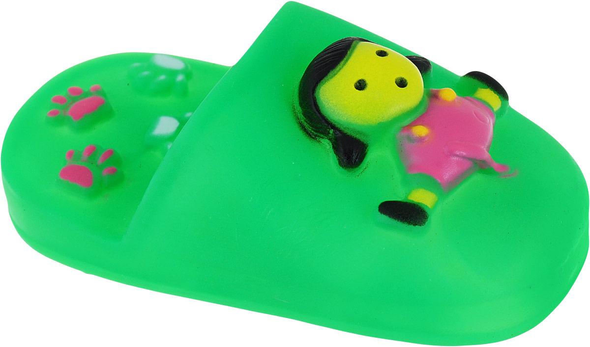 Игрушка для собак Уют Тапочки, цвет: зеленый, 10,5 см уют