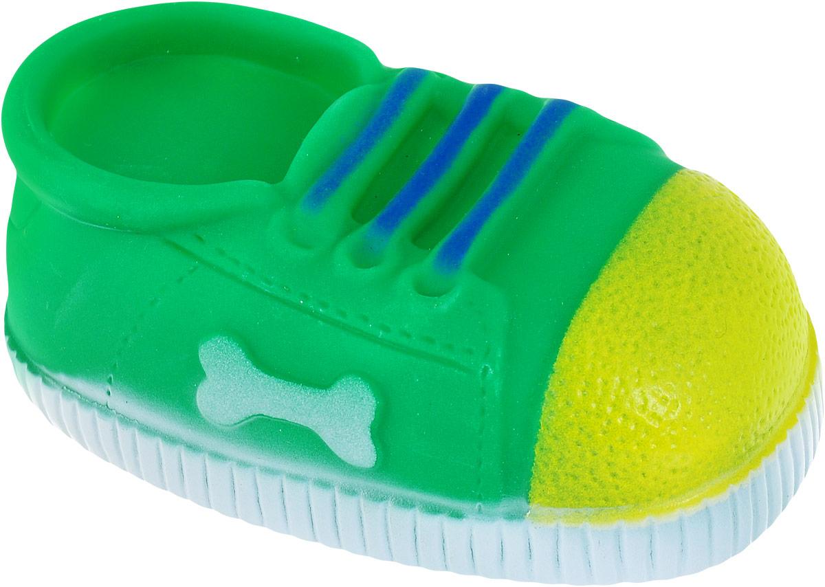 Игрушка для собак Уют Кеды, цвет: зеленый, 10 x 5 x 4 см игрушка для животных каскад мячик пробковый цвет зеленый 3 5 см