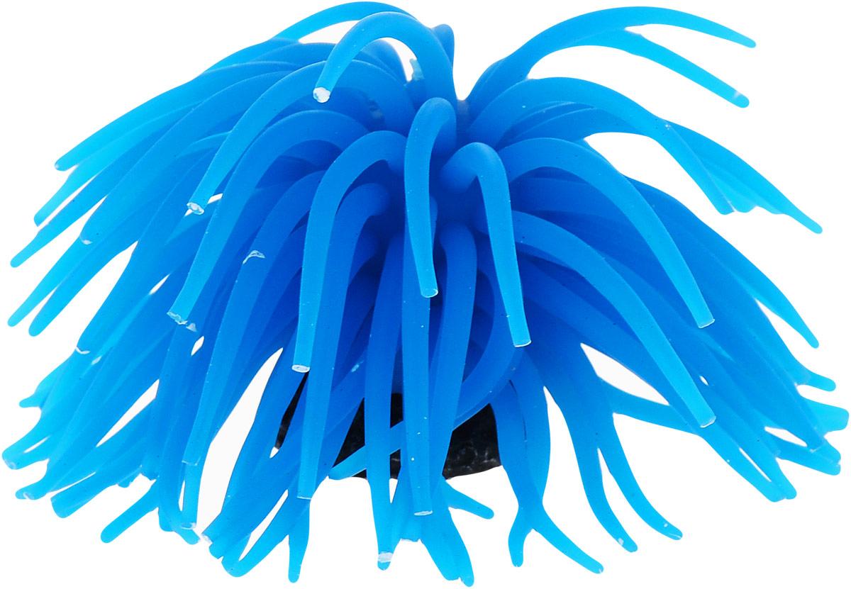Коралл для аквариума Уют Разноцветные щупальца, силиконовый, цвет: голубой, высота 10 см уют
