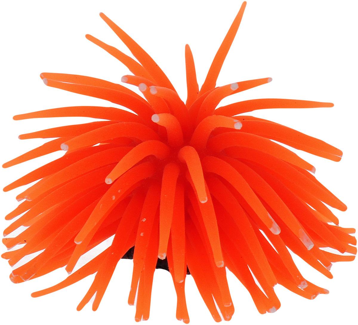 Коралл для аквариума Уют Разноцветные щупальца, силиконовый, цвет: оранжевый, 8 х 8 х 7 см распылитель воздуха для аквариума barbus белый корундовый 1 8 х 1 8 х 5 см