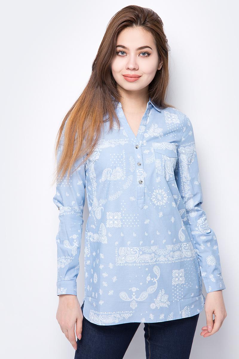 Блузка женская Sela, цвет: голубой. TKw-112/867-8132. Размер 48 платье женское sela цвет черный tkw 112 1323 7321 размер 50