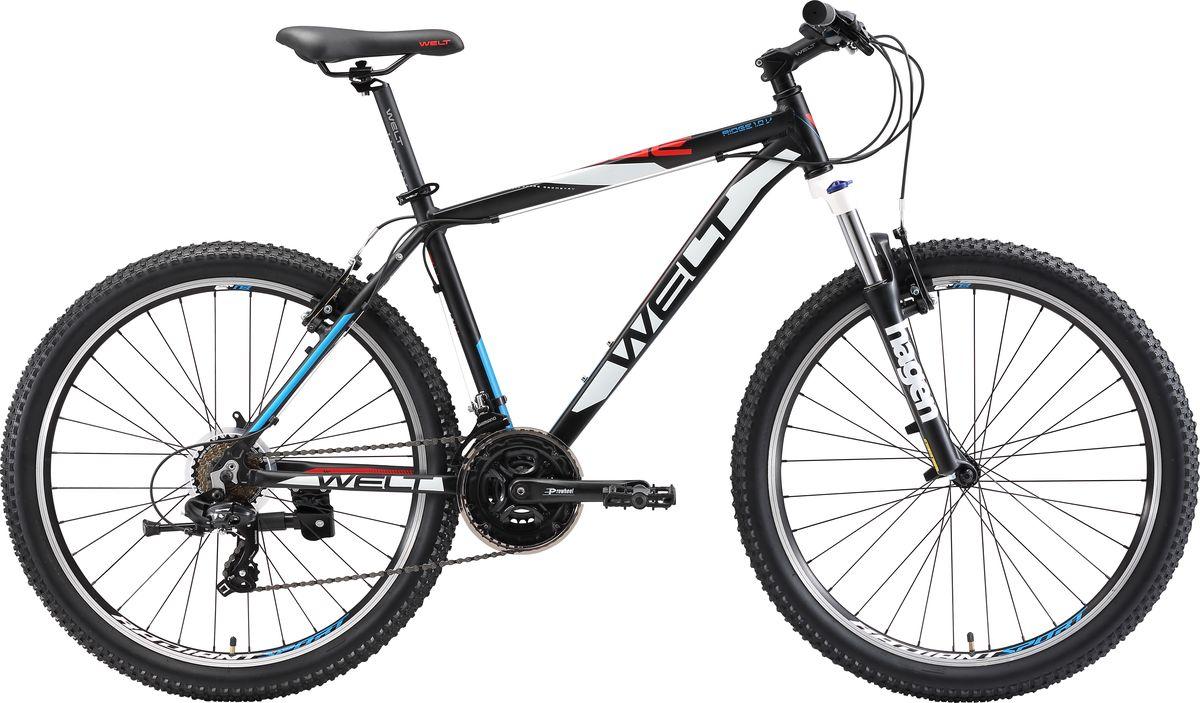 """Сенсационная модель, ломающая стереотипы! В серии Ridge появилась самая экономичная мужская модель на тормозах V-brake.Это тот же Ridge 1.0 и ободные тормоза - его единственное отличие от более старших версий на дисковой механике и гидравлике.Стильный горный велосипед, который можно использовать и для повседневных нужд и для спортивного катания.Welt Ridge 1.0 V предназначен для передвижения по различным типам местности: от ровных дорог до бездорожья и пересеченной местности. Стартовая модель в серии Ridge на тормозах #V_brake#. Ободные тормоза - его единственное отличие от более старших версий на дисковой механике и гидравлике.  Особенности и технологии: - технология #МТВ_SPECIAL_SERIES# - технология #DIAMOND_SHAPE_GEOMETRY# - Амортизационная вилка Hagen MRK 100mm MLO позволит без проблем преодолевать сложные участки лесных маршрутов. - Алюминиевая рама, вошедшая в основу велосипеда, обладает малым весом и высокой прочностью. - тормозаV-brake. - цельнолитая конструкция вилки, ход 100мм - Колеса с покрышками повышенной проходимости - подножка - 21 скоростная трансмиссия Shimano TX300. Технические характеристики: Рама: Alloy 6061 Размер рамы: S, M, L Диаметр колес: 26"""" Кол-во скоростей: 21 Тип вилки: амортизационная Вилка: Hagen MRK 100mm MLO Переключатель передний : Shimano TX300 Переключатель задний: #Shimano# TY-300 Шифтеры: Shimano EF-500 3x7 Тип тормозов: дисковые механические Тормоза: V-brake Система: Prowheel alloy 42/34/24 Кассета: Shimano TZ21 14-28T Тип рулевой колонки: 1-1/8"""" безрезьбовая Покрышки: Radiant 26 x2,35"""