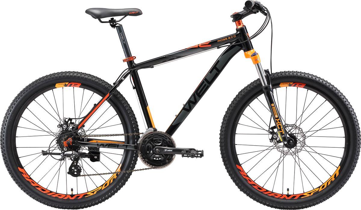 Велосипед горный Welt 2018 Ridge 2.0 D 29er, цвет: черный, оранжевый, серый, рама L, колесо 299333725309198Welt Ridge 2.0 D 29er - это высококачественных горный найнер для амбициозных райдеров. Этот велосипед поможет вам полностью раскрыть свой потенциал велогонщика. Велосипед предназначен как для неторопливых прогулок по лесным тропам, так и для спортивного катания в дисциплине кросс-кантри. Благодаря современной геометрии и большим колесам вы сможете использовать Welt Ridge 2.0 D 29er на все 100%.Привод работает без замедлений/шумов даже под серьезными нагрузками. Велосипед останавливается предельно быстро и в любых условиях благодаря дисковым тормозам Zoom DB.Предусмотрена возможность регулировки предварительной нагрузки и блокировка хода. Особенности и технологии: - технология #29ER# - технология #DIAMOND_SHAPE_GEOMETRY# - технология #МТВ_SPECIAL_SERIES# - технология #SMOOTH_WELDING_DESIGN# - дисковые тормоза Zoom DB 280 не подведут вас даже в экстремальной ситуации и отлично тормозят независимо от погодных условий. - навесное оборудование любительского уровня #Shimano# Altus порадует вас четкостью работы. - амортизационная вилка с масляной блокировкой хода Suntour XCT HLO поможет сгладить все неровности дорожного полотна.  Технические характеристики: Рама: Alloy 6061 Размер рамы: M, L Диаметр колес: 29 Кол-во скоростей: 24 Тип вилки: амортизационная Вилка: #Suntour_XCT_HLO_100mm# Переключатель задний : Shimano TX-50 Переключатель передний: Shimano Altus Шифтеры: Shimano EF-500 3x8 Тип тормозов: дисковые механические Тормоза: Zoom DB 280 Система: Prowheel alloy 42/34/24 Кассета: Shimano HG20 12-28T Тип рулевой колонки: semi-integrated 1- 1/8*44 Покрышки: Radiant 29 x2,2
