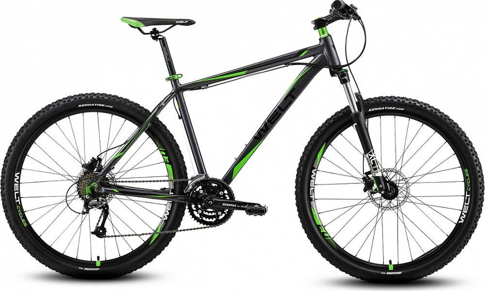 Велосипед горный Welt 2018 Rockfall 1.0 matt, цвет: серый, зеленый, рама M, колесо 279333725308610Welt Rockfall 1.0 - это высококачественный горный мужской хардтейл для амбициозных райдеров. Этот велосипед поможет вам полностью раскрыть свой потенциал велогонщика.Это доступный горный велосипед оснащенный качественными комплектующими и обладающий стильным дизайном. Легкость и прочность модели обеспечила высококачественная рама, изготовленная из алюминиевого сплава. Особенности и технологии: - Амортизационная вилка Suntour XCT HLO 27,5 DS поможет преодолеть сложные участки трассы не прибегая к торможению. - Трансмиссия Shimano Altus и Shimano Acera поможет подобрать необходимую передачу как на подъеме, так и на спуске. - технология #DIAMOND_SHAPE_GEOMETRY# -технология #27_PLUS# -27,5 (650В). Колеса сравнительно нового стандарта, которые набирают все большую популярность. Они универсальны. Велосипеды с такими колесами быстрее более привычных 26, а вот управляемость/маневренность у них ощутимо лучше по сравнению с найнерами. - технология #SMOOTH_WELDING_DESIGN# - технология#МТВ_SPECIAL_SERIES# Технические характеристики: Рама: Alloy 6061 tapered HT, polished welding Размер рамы: S, M, L Диаметр колес: 27,5 Кол-во скоростей: 24 Тип вилки: амортизационная Вилка: #Suntour_XCT_HLO_100mm# Переключатель задний : Shimano Acera 8 скоростей Переключатель передний: Shimano Altus Шифтеры: #Shimano# Altus 3x8 скоростей Тип тормозов: дисковые гидравлическиекие Тормоза: #Shimano# Acera M-315 Система: Prowheel Flint 42/34/24 Кассета: Shimano HG31 11-30T Тип рулевой колонки: semi-integrated 1- 1/8*44 Покрышки: Kenda Kick Back 26 x 2,1