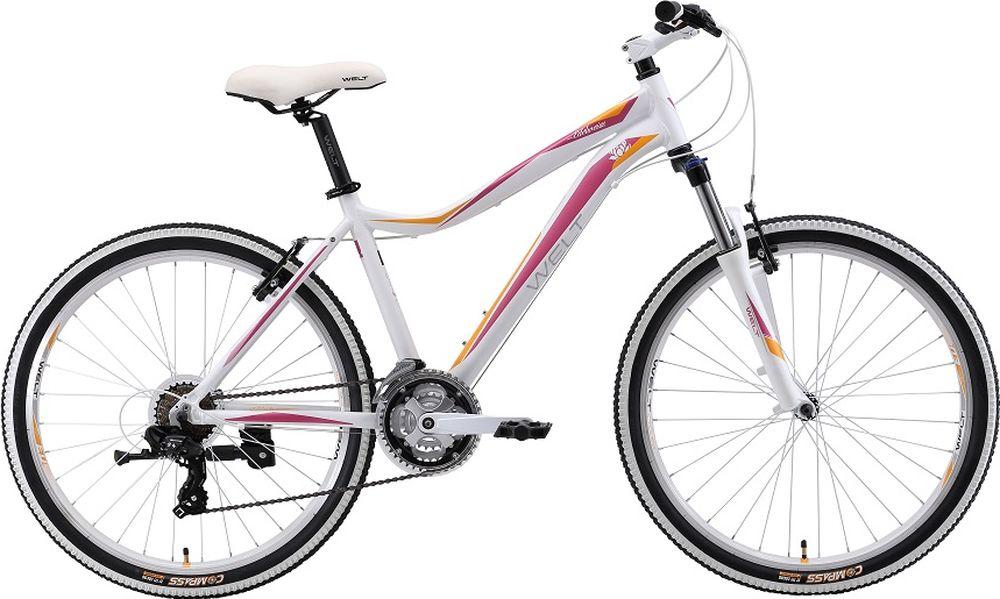 Велосипед женский Welt 2018 Edelweiss 1.0 D, цвет: белый, фиолетовый, рама S, колесо 269333725309273Что выбрать девушке для катания вне города? Стоит рассмотреть Welt EDELWEISS 1.0 D (2018), ведь на нем уже установлены дисковые механические тормоза, что позволит кататься в любых неблагоприятных условиях. Алюминиевая рама со специальной геометрией для удобства любимых дам. Нежные и заметные цвета байка не оставят вас без внимания, а в совокупности со специально подобранными компонентами - универсальная женская модель Welt EDELWEISS 1.0 D 2018 года, с обновленной и облегченной рамой - лучший выбор вкласседля кросс-кантри! Отличительной чертой данного велосипеда является яркий дизайн, получившийся благодаря белым элементам и в сочетании сцветом рамы. Особенности и технологии: Обновленная и облегченная рама с профилированными трубами помогает снизить общий вес велосипеда. Амортизационная вилка с большимходом 100 мм смягчит большие неровности наших дорог и поможет суставам рук снимать нагрузку.Для катания по городу имеется функция блокировки амортизации вилки, что поможет сэкономить силы при движении по ровному асфальту. Велосипед укомплектован дисковыми механическими тормозами и трансмиссией Shimano серии TX на 21 передачу.Также на велосипеде установлены подножка и пластиковая защита на передние звезды. -технология #DIAMOND_SHAPE_GEOMETRY# -технология #EASY_FITNESS_GEOMETRY# Технические характеристики: Диаметр колеса: 26                                 Рама:Alloy 6061 Размер рамы: S,M Уровень оборудования: любительский Материал рамы: алюминий Амортизационная вилка: пружинная Длина хода вилки: до 100 мм Задний багажник: без амортизатора Количество скоростей: 21 Блокировка амортизатора: нет Вынос: ALLOY 4 BOLTS, Ф31,8, 90 мм Передний тормоз: JAK-5 Задний тормоз: JAK-5 Цепь: KMC Z33 Система: STEEL 42/34/24 Каретка: SEALED CARTRIDGE Ободья: DISCO-23 DOUBLE WALL Передняя втулка: SF 6 BOLTS W/QR Задняя втулка: SF 6 BOLTS W/QR Передняя покрышка: COMPASS 26 X2,1 Задняя покрышка