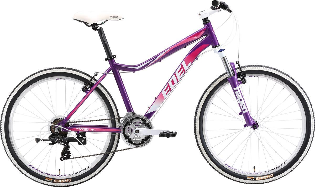 Велосипед женский Welt 2018 Edelweiss 1.0, цвет: фиолетовый, розовый, рама S, колесо 269333725308702Классический горный женский велосипед Welt Edelweiss 1.0 (2018) года, созданный для активных занятий фитнесом или частых прогулок с друзьями. Отличный вариант для леди, ищущих надежный и легкий велосипед для неторопливых прогулок по городским улочкам и паркам. Отличительной чертой данного велосипеда является яркий дизайн, получившийся благодаря белым элементам и в сочетании сцветом рамы. Особенности и технологии:  Welt Edelweiss 1.0 получился легким и прочным - это стало доступным благодаря использованию алюминиевого сплава в конструкции рамы. Благодаря амортизационной вилке Hagen MRK преодоление препятствий не составит для вас труда. Ободные тормоза V-brake,помогут быстро и плавно остановить велосипед в непредсказуемых ситуациях.Модель оснащена подножкой.Для катания по городу имеется функция блокировки амортизации вилки, что поможет сэкономить силы при движении по ровному асфальту/ - технология #DIAMOND_SHAPE_GEOMETRY# - технология #EASY_FITNESS_GEOMETRY#  Технические характеристики: Рама: Alloy 6061 Размер рамы: S, M Диаметр колес: 26 Количество скоростей: 21 Тип вилки: амортизационная Вилка: Hagen MRK 100mm MLO Передний переключатель: Shimano TZ-30 Задний переключатель: #Shimano# TY-300 Шифтеры : Shimano EF-500 3x7 Тип тормозов: #V_brake# Тормоза: Alloy YX-122 Система: steel 42/34/24 Кассета: Shimano TZ21 14-28T Тип рулевой колонки: 1-1/8 безрезьбовая Покрышки: Compass 26 x2,1