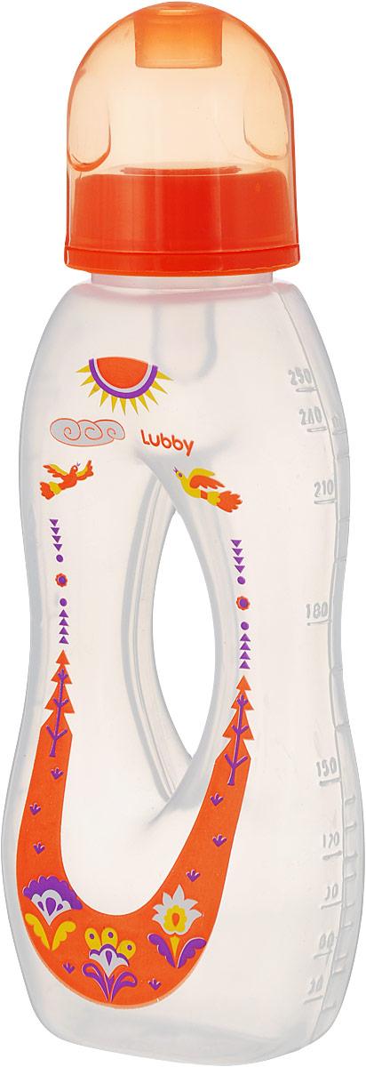 Lubby Бутылочка с силиконовой соской Бублик цвет оранжевый от 0 месяцев 250 мл