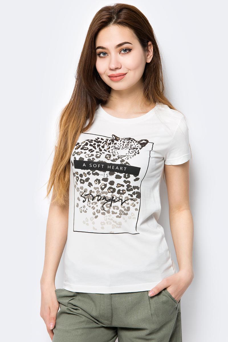 Футболка женская Sela, цвет: слоновая кость. Ts-111/289-8243. Размер S (44) приталенная футболка с короткими рукавами rj приталенная футболка с короткими рукавами