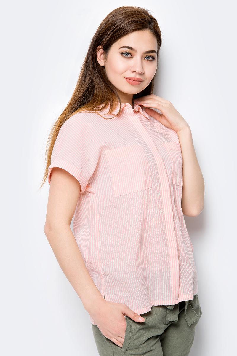 все цены на Блузка женская Sela, цвет: персиковый. Bs-112/240-8233. Размер 50 онлайн