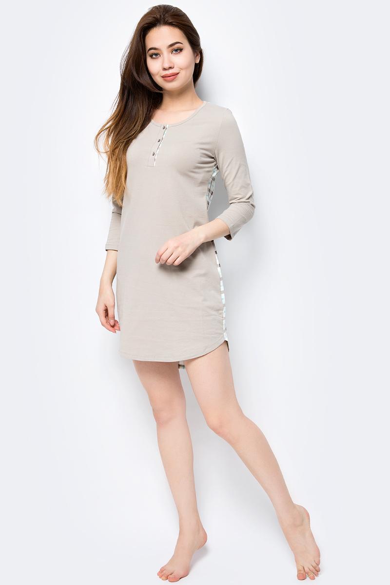 Платье домашнее Melado База, цвет: серый, бирюзовый. ML2635/01. Размер 50ML2635/01Стильное и комфортное домашнее платье от Melado из натурального полотна. Спинка из набивки в классическую клетку, а передняя часть - однотонного цвета. Ворот украшен планкой и отделкой.