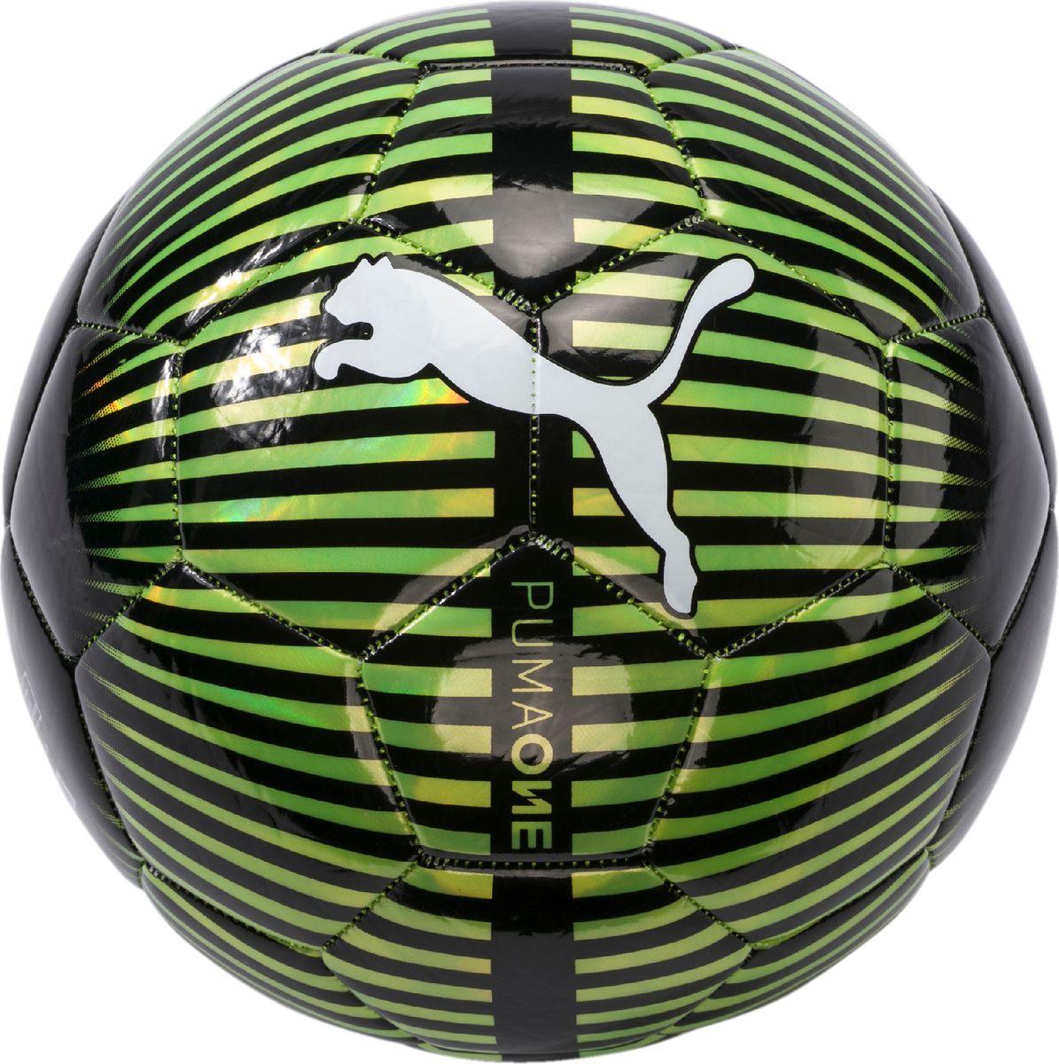 Мяч тренировочный Puma One Chrome Ball, цвет: желтый08282126Мяч для активного отдыха и игр с друзьями. Сочетание покрытия из термополиуретана и внешней термополиуретановой сверкающей пленки выглядит очень эффектно. Подложка из вспененного термополиэстера и полиуретана, а также надежная машинная прошивка панелей создают такие характеристики мяча, которые обеспечивают удобство приема, сохранение формы, чуткое реагирование на любые действия игрока, предсказуемость отскока, отличные аэродинамические качества.
