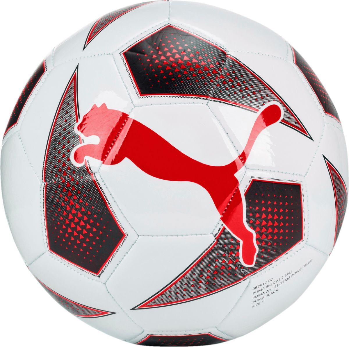 Мяч тренировочный Puma Big Cat 2 Ball, цвет: белый. 0829170108291701Мяч для тренировок начинающих футболистов также подходит для игр с друзьями. Сочетание покрытия из термополиуретана, подложки из вспененного термопластичного эластомера и полиэстера, а также надежная машинная прошивка панелей создают такие характеристики мяча, которые обеспечивают удобство приема, сохранение формы, чуткое реагирование на любые действия игрока, предсказуемость отскока, отличные аэродинамические качества. Резиновая камера надежно удерживает воздух внутри мяча.