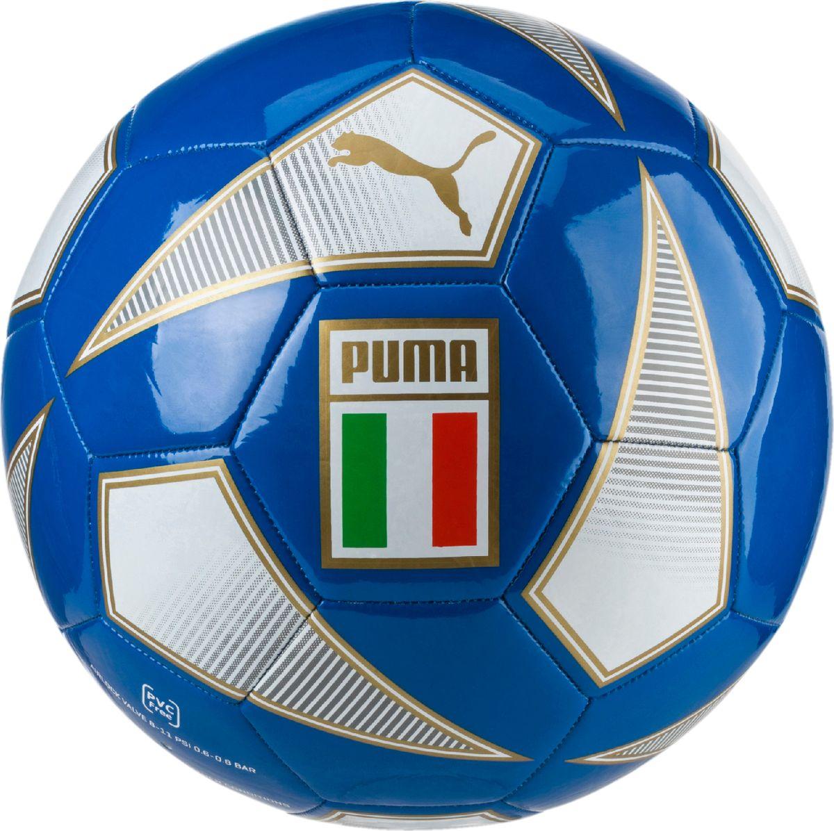 Мяч для игр на любительской уровне станет отличным подарком для всех поклонников национальной сборной Италии по футболу. Сочетание покрытия из термополиуретана, подложки из вспененного термопластичного эластомера и полиэстера, а также надежная машинная прошивка панелей создают такие характеристики мяча, которые обеспечивают удобство приема, сохранение формы, чуткое реагирование на любые действия игрока, предсказуемость отскока, отличные аэродинамические качества.