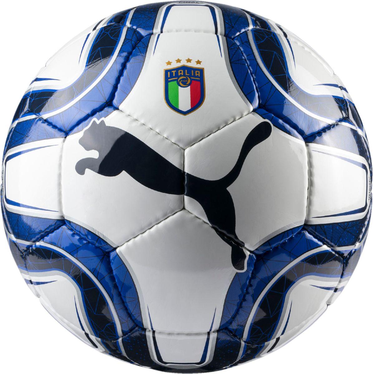 Мяч тренировочный Puma Italia Final 5 HS Trainer, цвет: лазурный08295101Футбольный мяч для тренировок со сшитыми вручную панелями полностью воспроизводит мяч для профессионалов. Он изготовлен из 32 панелей с одинаковой площадью поверхности для уменьшения нагрузки на швы и придания ему идеально круглой формы. Панели имеют многослойную тканевую подложку для большей стабильности, износостойкости и улучшения аэродинамики. Латексная камера в сочетании с клапаном PUMA AIR LOCK препятствуют утечке воздуха. На данный мяч предоставляется гарантия сохранения формы в течение года.