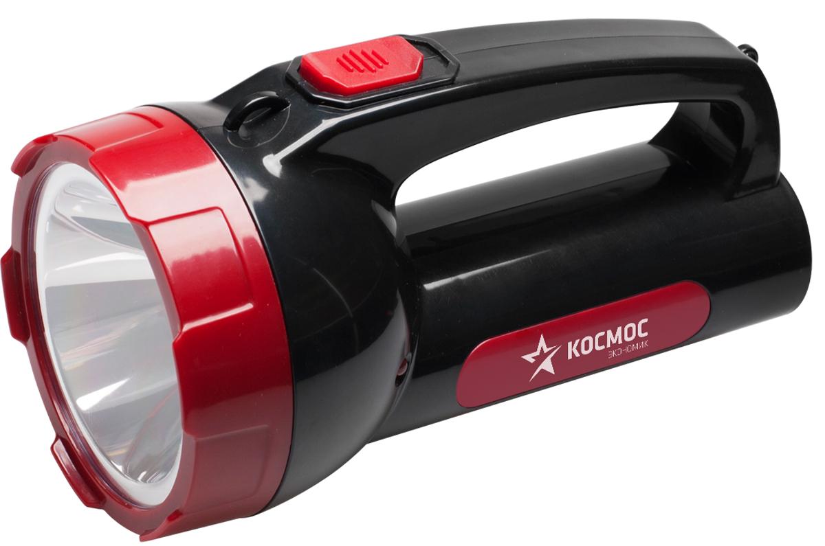 Фонарь ручной Космос KOCAc9105WLED, аккумуляторный, цвет: черный, красный