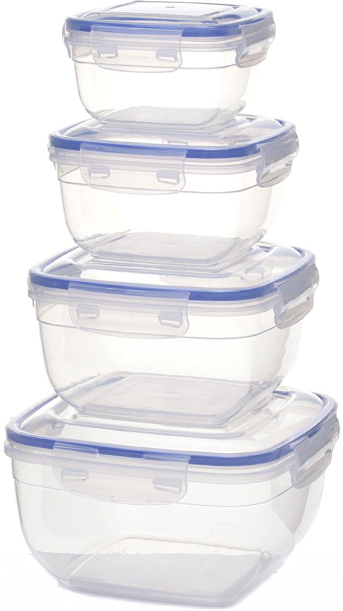 Набор контейнеров для продуктов StarPlast, квадратные, цвет: прозрачный, 4 шт. 94096 набор контейнеров idea квадратные цвет салатовый 0 5 л 3 шт