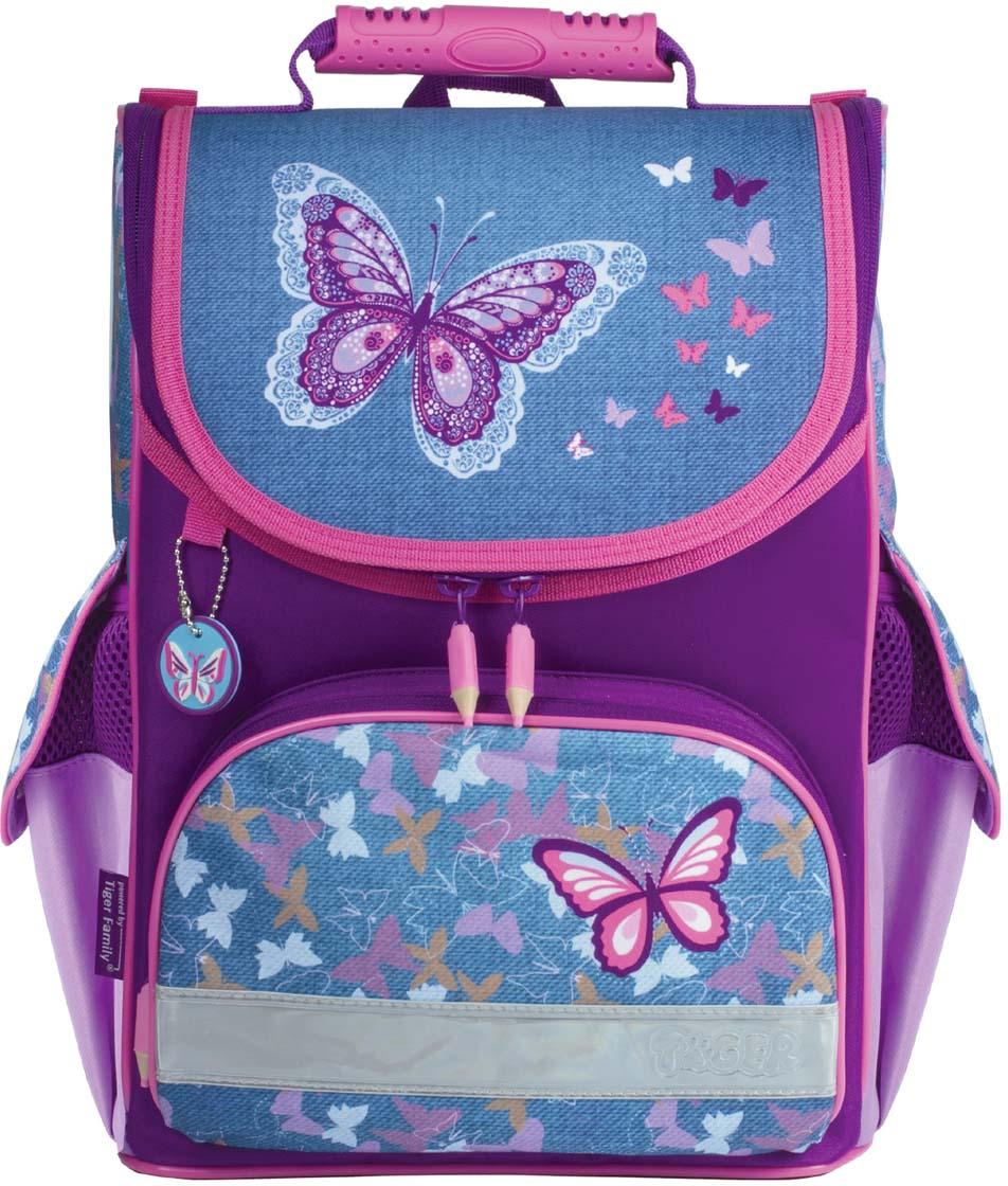 Tiger Family Ранец школьный Denim Butterflies цвет фиолетовый голубой227030Идеальный ранец для первоклассницы. Стильная расцветка, изящный рисунок и красивый брелок обязательно порадуют маленьких школьниц. Анатомически правильная вентилируемая спинка и легкая конструкция помогут правильно распределить нагрузку по спине. Пол ребенка: для девочек.Форма ранца: классический с верхней крышкой.Материал спинки: пенополиуретан.Кол-во отделений: 1.Перегородка в основном отделении: да.Кол-во карманов: 3.Светоотражающие элементы: да.Боковые карманы: да.Фронтальный карман: да.Регулируемые лямки: да.Вентилируемые лямки: да.Материал дна: плотная водонепроницаемая ткань.Персонализация: карточка для персональных данных школьника.Цвет: фиолетовый.Размер: 35х31х19 см.Объем: 13 л.Вес: 0.73 кг.