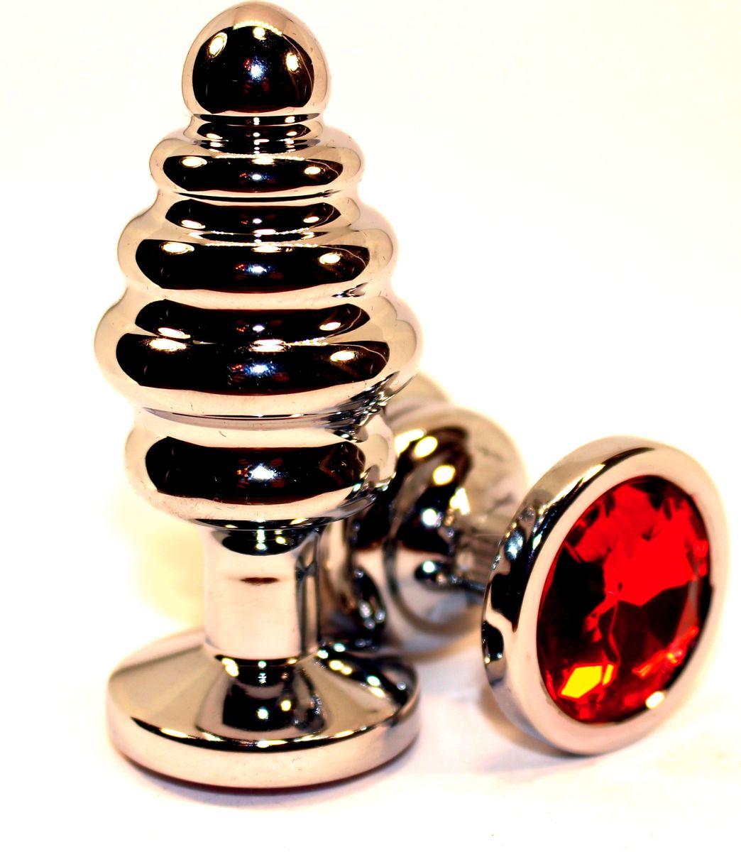 4sexdreamАнальная пробка фигурная, большая, цвет:  серебристый, красный 4sexdream