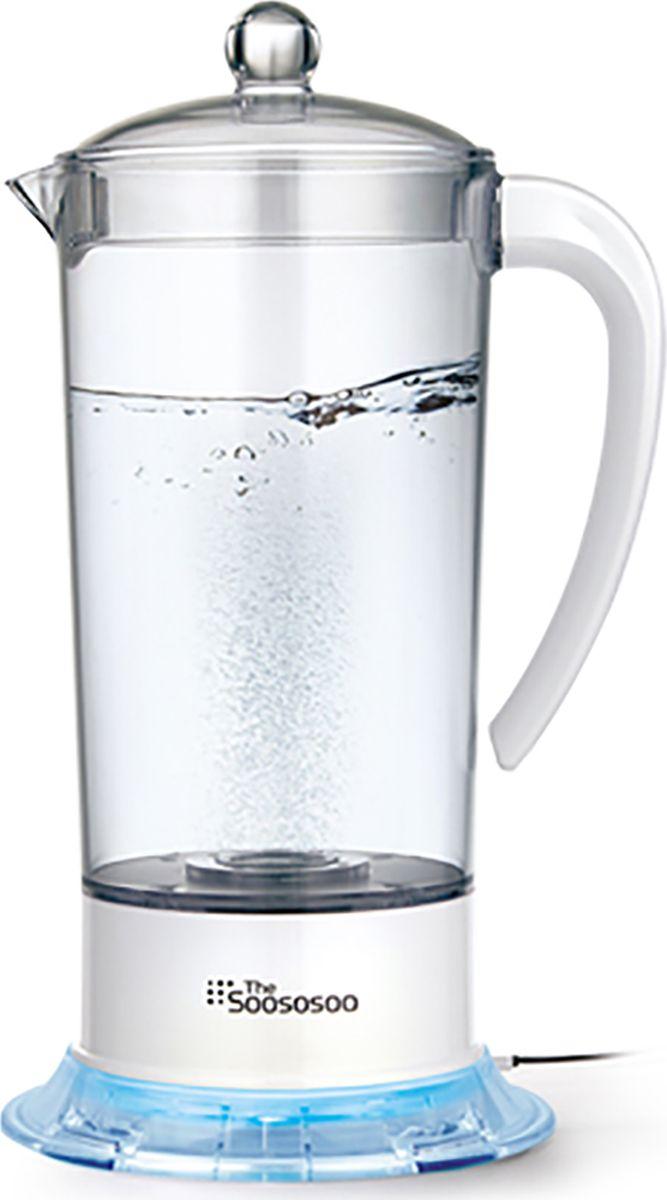 """Тhe Soososoo TSH-100 Аппарат для получения водородной воды с оздоровительным эффектом. Основной принцип работы прибора - это преобразование воды путем электролиза в отрицательно заряженную воду, """"катодную"""". В процессе электролиза происходит двойное обогащение воды водородом: в растворенном и газообразном виде, тем самым уменьшая уровень ОВП (окислительно - восстановительный потенциал) до - 400 mkv. При регулярном приеме водородной воды запускаются процессы оздоровления всего организма. Свободные молекулы водорода, поступая к активным кислородным частицам, блокируют окисление здоровых клеток организма. Наши внутренние молекулы-антиоксиданты не способны самостоятельно защитить организм от свободных радикалов. Антиоксиданты, находящиеся в продуктах, витаминах или БАДах, не оказывают выраженного эффекта. Они слишком большие, поэтому не могут проникнуть внутрь клетки. Только молекула водорода, благодаря своему малому размеру, способна проникнуть через стенки клетки и нейтрализовать свободные радикалы. Плохое качество воздуха и питьевой воды, насыщенные химией продукты питания, загрязнение питьевой воды, воздействие излучений-все это ведет к избытку оксидантов в нашем организме. А это значит: преждевременное старение, обострение хронических заболеваний, нарушение обмена веществ, сердечно-сосудистые патологии, риск раковых заболеваний."""