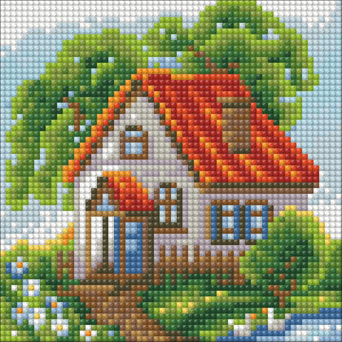 """Набор для создания картины со стразами Алмазная Живопись """"Летний домик"""", 15 х 15 см"""