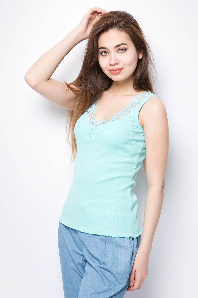 Майка женская Baon, цвет: зеленый. B258206_Green Tint. Размер XXL (52) baon хлопковая майка на тонких бретелях арт baon b256203 зеленый