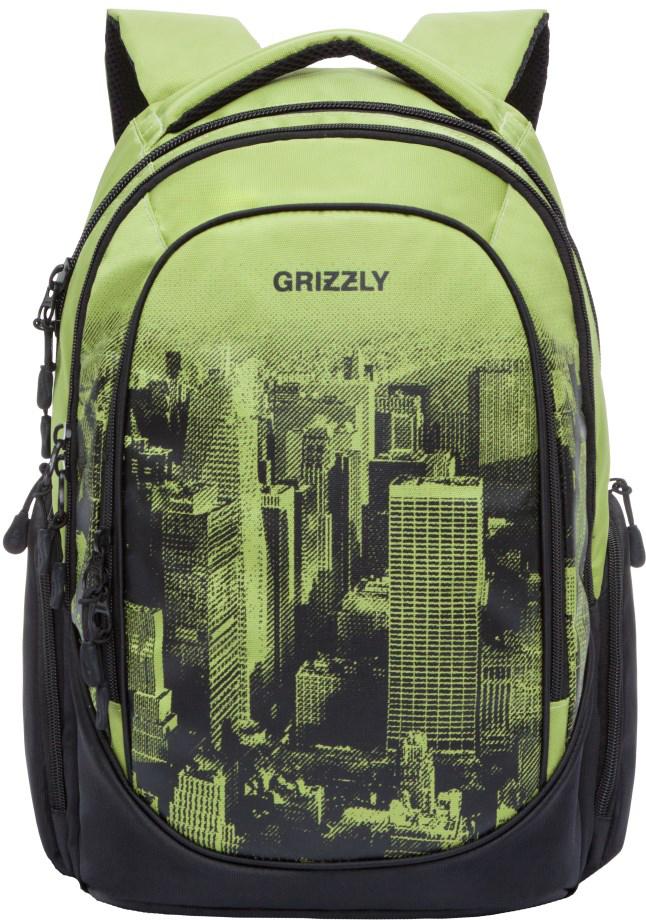 Рюкзак городской Grizzly, цвет: салатовый. RU-802-1/1RU-802-1/1Молодежный рюкзак Grizzly имеет три отделения, объемные боковые карманы на молнии, внутренний карман, внутренний подвесной карман намолнии, внутренний составной пенал-органайзер. Выполнен из полиэстера. Особенности: жесткая анатомическая спинка, мягкаяукрепленная ручка, укрепленные лямки.