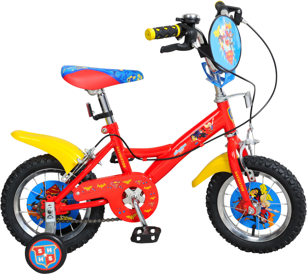Велосипед детский Navigator Super Hero Girls, цвет: красный. ВН12099. ВН12099ВН12099Велосипед 12 дюймов Navigator(2017) Поезд Динозавров с персонажами из любимого мультфильмаОднокомпонентный кареточный узел Камеры из натуральной резины Стальные обода Покрышки 12 х 2,125 Задний ножной тормоз Вставки в колесах Широкие страховочные колеса Возраст от 3 до 5 лет