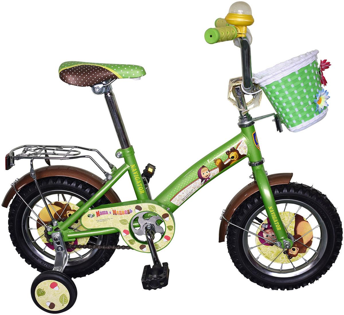 Велосипед детский Navigator Маша и Медведь, цвет: зеленый. ВН12101К. ВН12101К