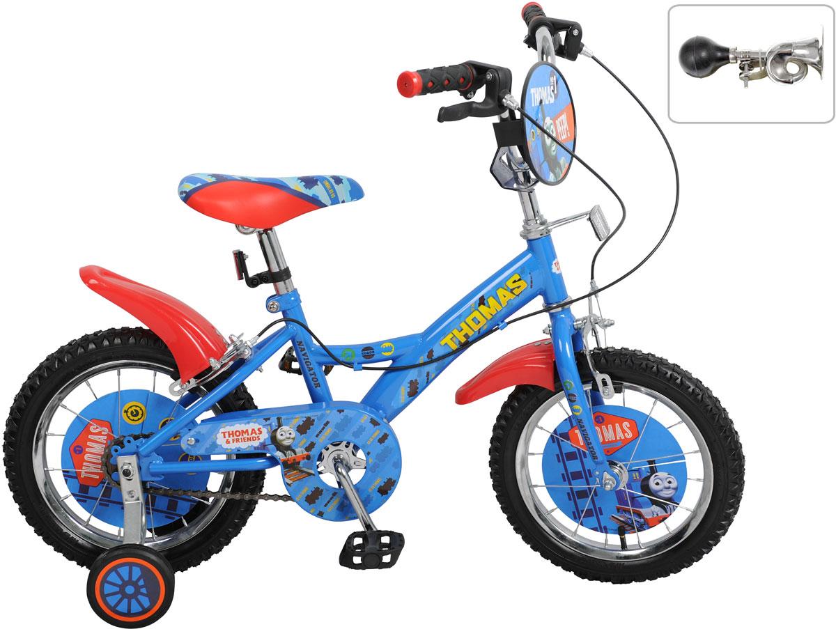 Детский велосипед с ярким дизайном и популярной лицензией Томас и его друзья.Широкие страховочные колёса, односоставной шатун, вставки в колесах, пластиковые крылья, щиток на руле, клаксон, передний и задний ручной тормоз.