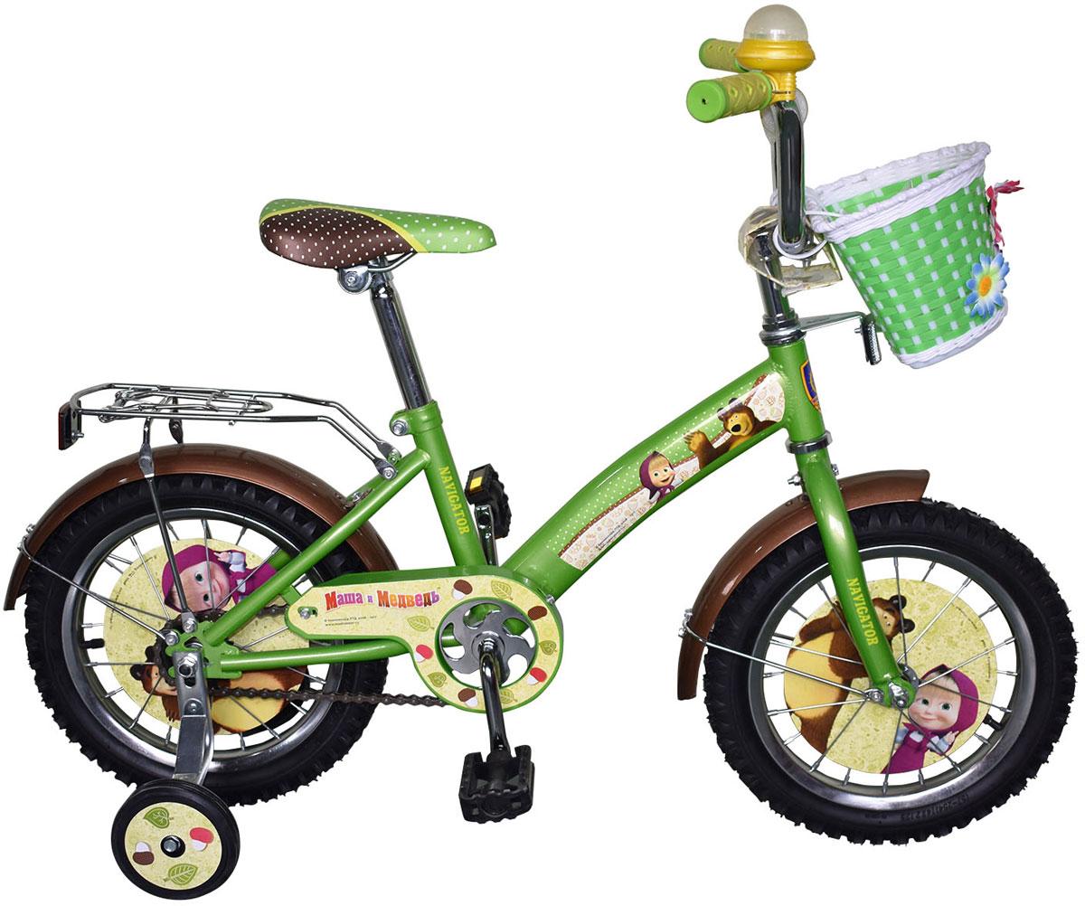 Велосипед детский Navigator Маша и Медведь, цвет: зеленый. ВН14160. ВН14160