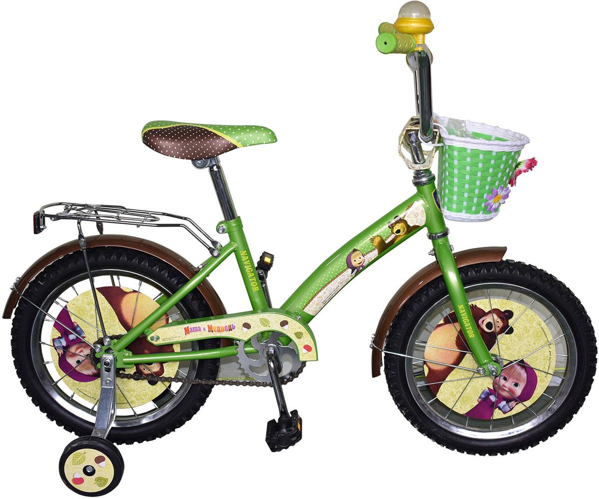 Велосипед детский Navigator Маша и Медведь, цвет: зеленый. ВН16115К. ВН16115К
