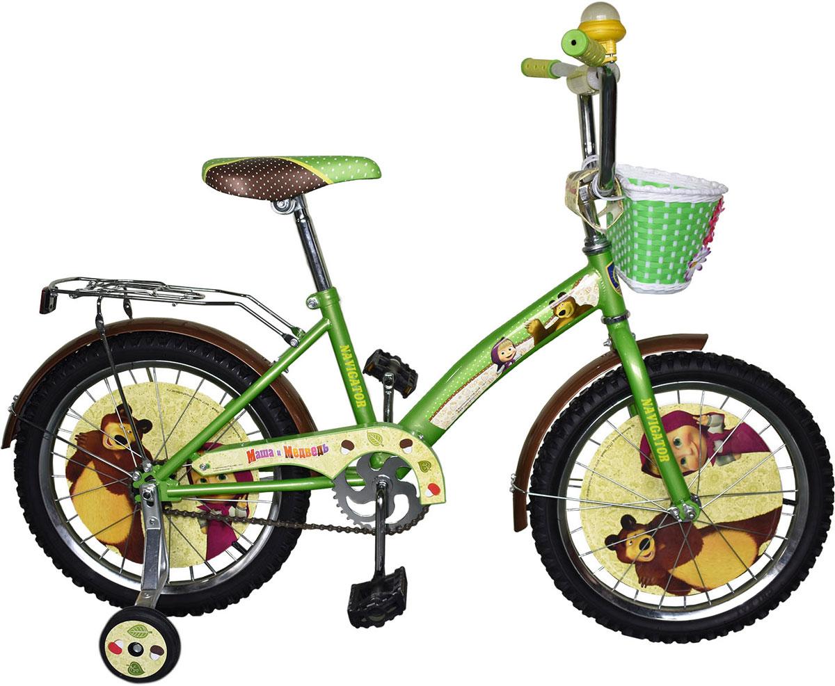 Велосипед детский Navigator Маша и Медведь, цвет: зеленый. ВН18081. ВН18081