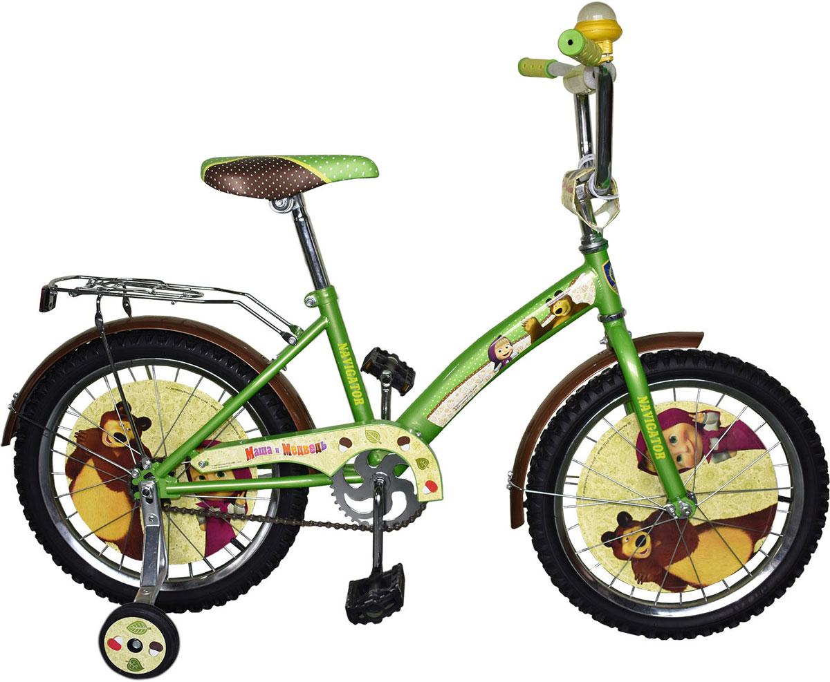 Велосипед детский Navigator Маша и Медведь, цвет: зеленый. ВН18081К. ВН18081К