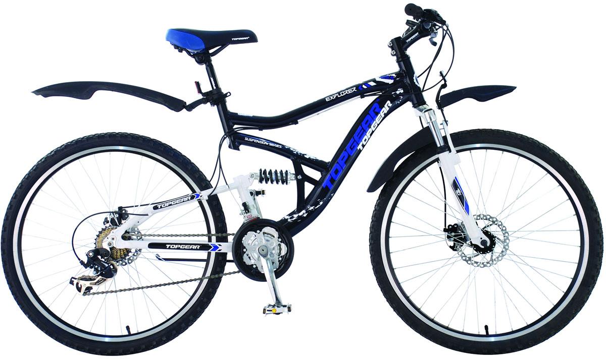 Велосипед детский TopGear Explorer, цвет: синий. ВН26358ВН26358Горный велосипед двухподвес TOPGEAR EXPLORER 425 18 с алюминиевой рамой 20. Для поездок по городу, парковым зонам, пересеченной местности. Велосипед оснащен системой переключения передач Shimano TY10/TX31/EF50 на 21 скоростm и механическими дисковыми тормозами. Дополнительно в комплектацию входят пластиковые крылья и подножка.