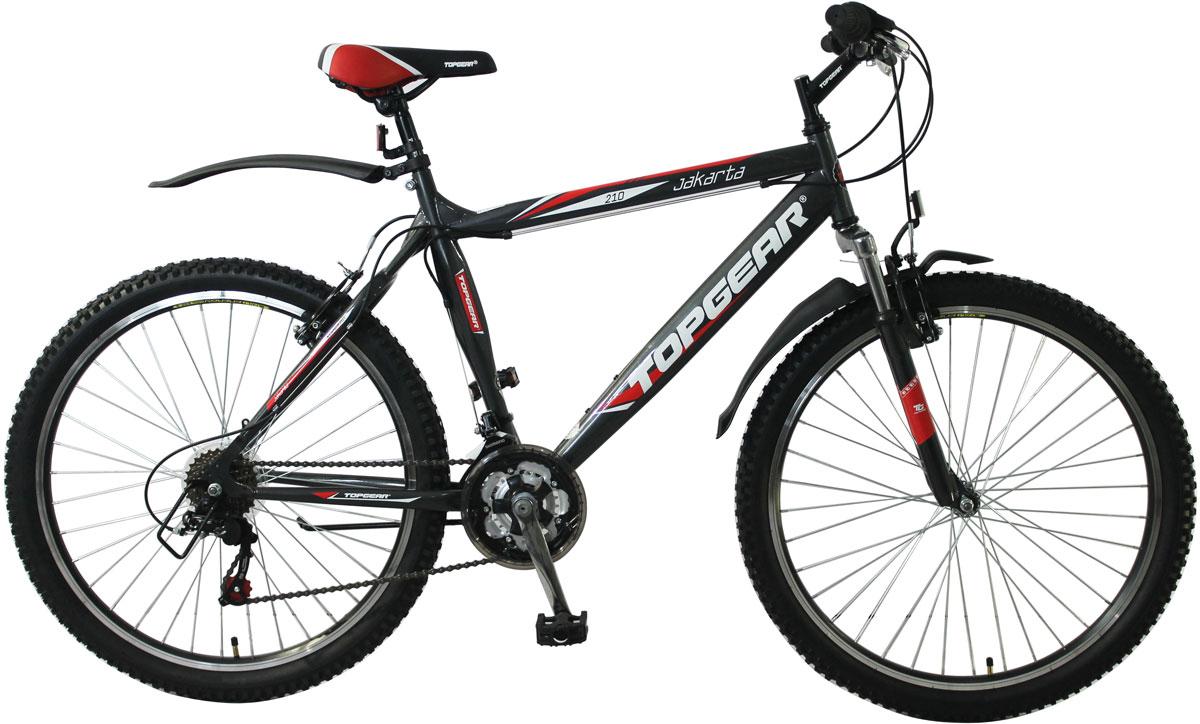 """Горный велосипед (хардтейл) TOPGEAR JAKARTA 210 26"""" с жесткой стальной рамой 20"""". Для поездок по городу, парковым зонам, пересеченной местности. Велосипед оснащен системой переключения передач Shimano TZ31/TZ50/RS35 на 18 скоростей и тормозами типа V-brake. Дополнительно в комплектацию входят пластиковые крылья и подножка."""