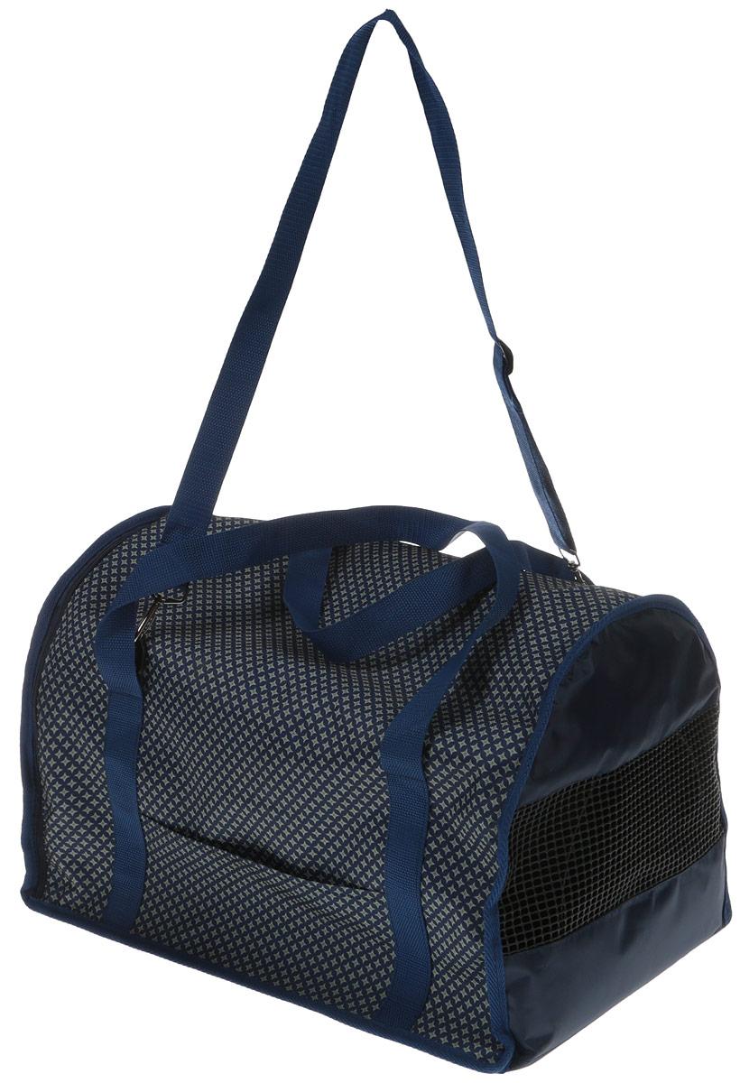 Сумка-переноска для животных Теремок, цвет: синий, ромбы, 45 х 29 х 30 см сумка переноска для животных теремок цвет голубой синий белый 44 х 19 х 20 см