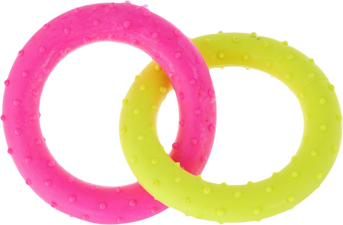 Игрушка для собак Уют Кольцо, цвет: розовый, желтый, 13,5 см, 2 шт уют