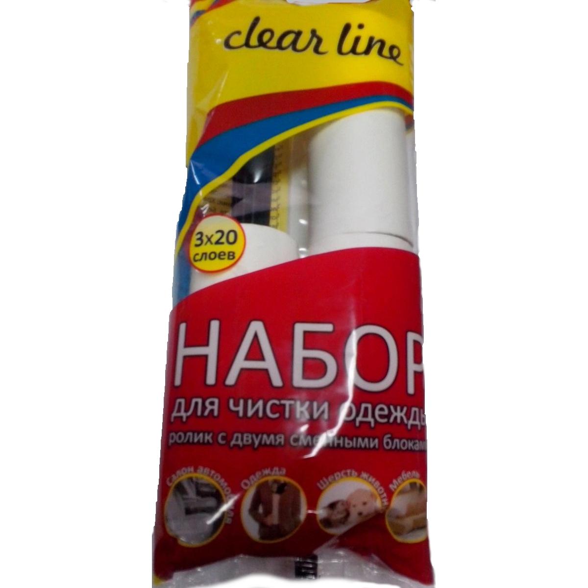 Ролик для чистки одежды Clear Line, 20 слоев + Запасной блок Clear Line, 2 шт