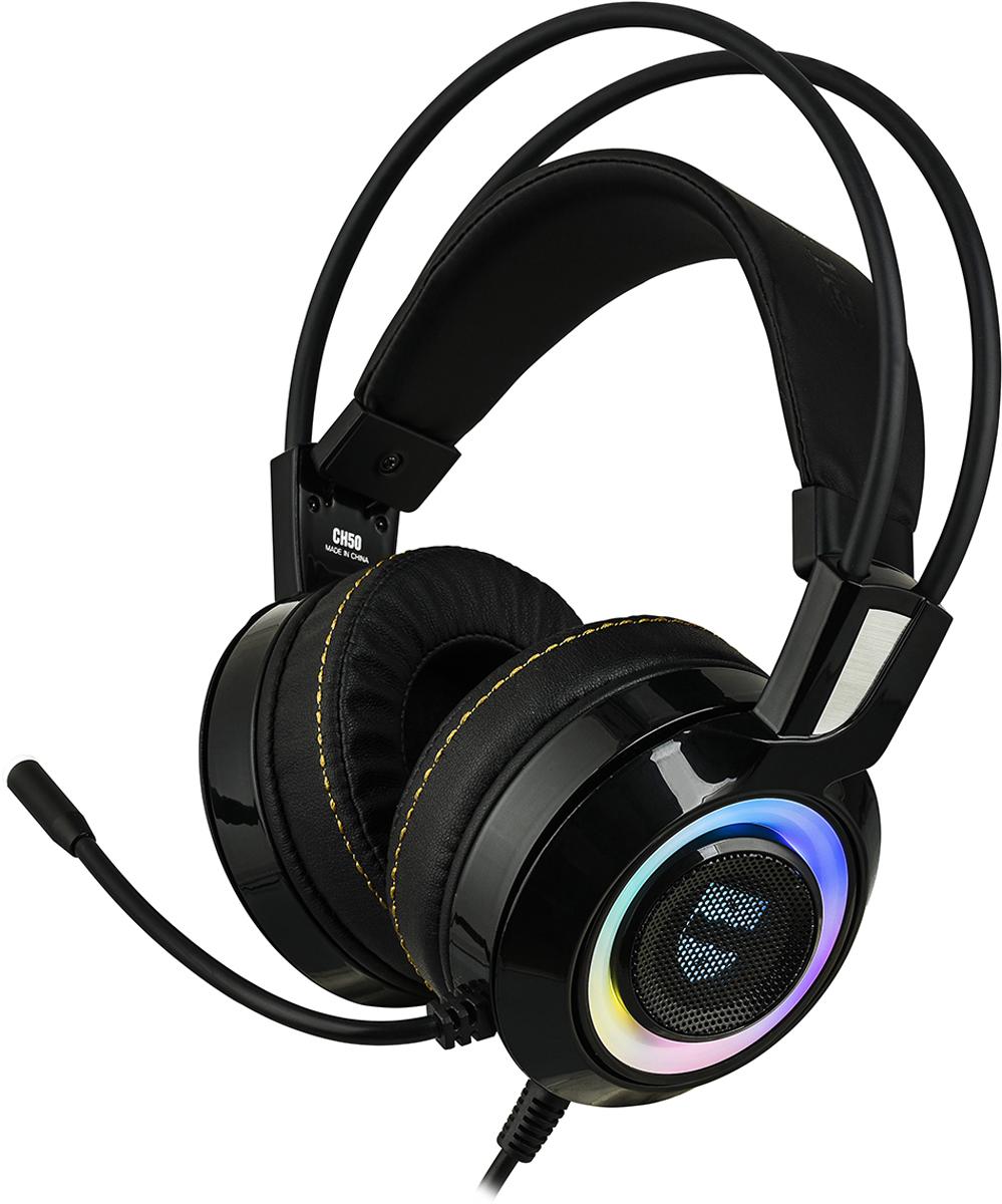 Qumo JollyRoger GHS0010, Black гарнитура игровая проводная23479Флагман модельного ряда игровых гарнитур Qumo. В этой модели собрано все лучшее - динамическая настраиваемая RGB подсветка с эффектами, большие динамики 2 * 50 мм, поддержка виртуального эффекта многоканальной системы 7.1, система усиления низких частот вибрацией Bass Boost, собственное ПО. Эргономичный двойной подвес и большие амбушюры делают ее использование максимально комфортным в течении продолжительного времени, а микрофон на гибкой ножке, оснащенный подсветкой, поможет отрегулировать его удобное расположение и всегда оставаться на связи с товарищами по игре. Входящее в комплект ПО для управления параметрами гарнитуры дублирует возможность настройки с помощью кнопок панели управления на самой гарнитуре.